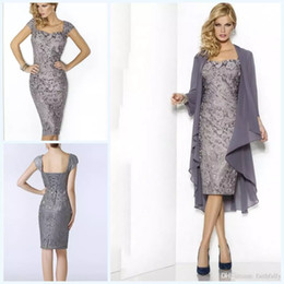 Wholesale Vintage Grey Mother Dress - 2018 Grey Elegant Sweetheart Mothers Dresses Tea Length Sheath Lace Mother Of The Bride Groom Dresses with Jacket Moms Gowns