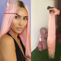marcas de tejido de cabello humano Rebajas 1b ombre de dos tonos rosa ombre pelo 3 paquetes de lotes 1b rosa 100% de pelo liso humano tejiendo paquetes