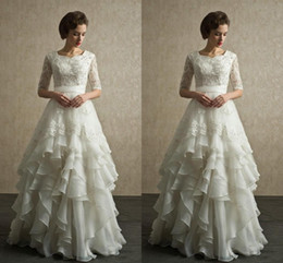 Wholesale White Beaded Bridal Belt - 2017 Half Sleeves Modest Wedding Dresses Lace Beaded Appliques Chiffon Tiered Skirts Full Length Zipper Back Summer Bridal Gowns with Belt