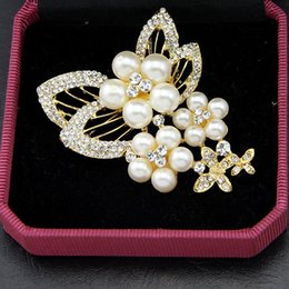 Wholesale Beautiful Silk Dresses - Beautiful Flower Pearl Crystal Brooches Silk Buckle Fashion For blouse and dress Not include Box NE744