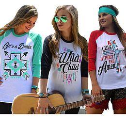 Wholesale Raglan Women - Wholesale-2016 Women Loose Raglan Sleeve Letter Print Cotton Casual Long Shirt Tops T-shirt