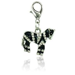 Argentina Moda animal flotante broche de langosta encantos blanco Rhinestone negro esmalte cebra diy encantos para la fabricación de joyas accesorios Suministro