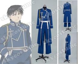 Wholesale Female Military Jackets - Fullmetal Alchemist Roy Mustang Military Uniform Top Coat Jacket Dress For Men Anime Halloween Cosplay Costume Custom Made
