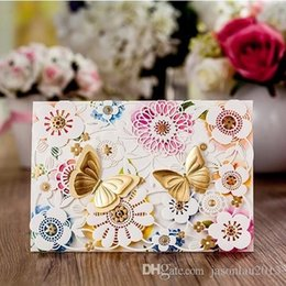 Wholesale Double Fold Wedding Invitations - Elegant Lace Wedding Invitations Double Butterfly Party Invitation Cards Laser Cut Butterfly Flower House Moving Invitation with Envelope