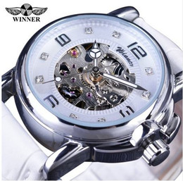 Wholesale Ladies Stainless Steel Skeleton Watch - Winner 2018 Ladies Diamond Display Women Top Brand Luxury White Simple Skeleton Transparent Case Automatic Mechanical Watches