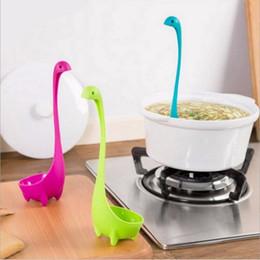 Wholesale Disposable Plastic Flatware - Wholesale- New Dinosaur Soup Spoon Long Handle Flatware Monster Porridge Nessie Spoons Dinnerware Cooking Tools Kitchen Accessories