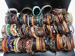 Wholesale Make Leather Cuff Bracelets - wholesale assorted mixed styles 100pcs Genuine Leather surfer Ethnic tribe Hand Made Cuff vintage Jewelry Bracelets