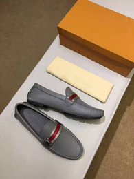 Wholesale Casual Office Fashion - Original Box!!!Fashion Mens Loafers Leather Shoes Dress Wedding Casual Walk Shoes Paris Office Drive Flat Heel Pumps Top Quality Size38-45