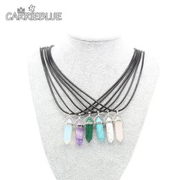 Wholesale Quartz Red Necklace - Semi-precious Crystal Necklace Natural Quartz Amethyst Turquoise Chakra Gem Stone Wax cord Pendant Necklaces For Women XL11