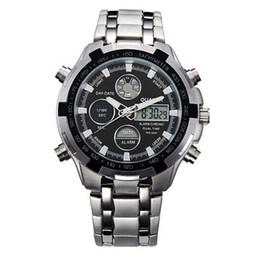 Wholesale Mens Big Faced Watches - Fashion Mens Sport Watch Led Gold Big Face Quartz-Watch Men Waterproof Wrist Watch Male Watches Clock relogio masculino
