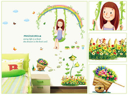 Wholesale Rainbow Wall Stickers Kids - 7264 DIY Cartoon Swing Girl DIY Wall Stickers Decal Rainbow Flowers Decals For Kids Rooms Children Baby Nursery Rooms