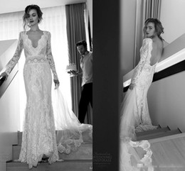 Wholesale Summer Dresse - 2017 Lihi Hod Wedding Dresse Sexy Lace Bridal Gown Plunging Neck Beaded Sequins Backless Long Sleeves Open Back Wedding Gown Vintage Dresses