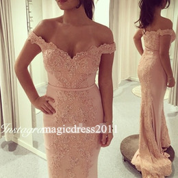 Wholesale Ladies Club Wear Fashion - Romantic Blush Evening Dresses Kaftan Abaya Middle East Saudi Arabia Indian Lady Lace Prom Dresses Dress for Party Wear Plus size