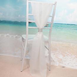 2019 caixas alaranjadas da cadeira do casamento Atacado Branco Slub Chair Sashes com Filas de Diamante Chiffon Delicado Banquete Decorações Da Cadeira de Casamento Decorações Cobre Acessórios