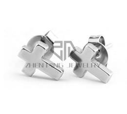 Aretes de acero quirurgico online-Envío gratis cruz Stud pendientes 316L quirúrgico de acero inoxidable mujeres moda Stud pendientes puede ser mezcla