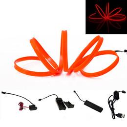 Wholesale El Cigarettes - EL Wire Lamp Red 1m 2m 3m 4m 5m Sewing Edge flexible Neon Cold Light Car Decor Dash Board Console With Cigarette lighter Drive