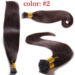 Wholesale Cheap Keratin - High Quality I Tip Pre Bonded Human Hair Extensions #2 Fusion Hair Set,Cheap 7A Brazilian Remy Hair Keratin Human Hair I Tip Hair Extension