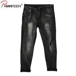 Wholesale Men Low Waist Jeans - Wholesale- Phanteen Vintage Grey Skinny Fit Man Jeans Ripped Elastic Low Waist Pencil Jeans High Quality Cotton Washed Fashion Men Trousers