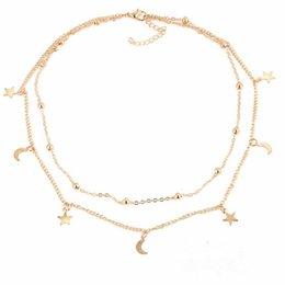 Wholesale Star Necklaces For Women - New Stars & Moon Necklaces for Women & girls silver & gold plated link chains necklaces multi layers necklaces fashion Jewelry for gifts