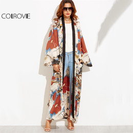 Wholesale Long Sleeve Belted Blouse - COLROVIE Calico Print Maxi Kimono Long Sleeve Vintage Blouse Women 2017 Autumn Loose Tops Contrast Trim Elegant Belted Kimono q1113