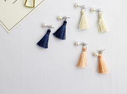 Wholesale Korean Freshwater Pearl Silver - Women Earrings New Korean Style Freshwater 6MM Pearl 925 Sterling Silver Earrings Long Tassel Drop Earrings HF