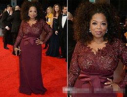 Wholesale Oprah Dresses - 2016 Oprah Winfrey Burgundy Long Sleeves Sexy Mother of the Bride Dresses V-Neck Sheer Lace Sheath Plus Size Celebrity Red Carpet Gowns Sale