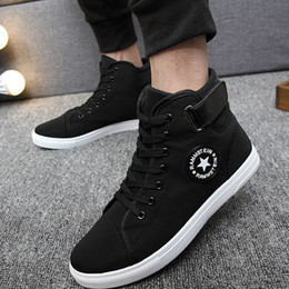 Wholesale Korean Men Fashion Shoes - Korean High-top men shoes casual fashion breathable Rammstein canvas shoes man Lace-Up hip hop flat shoes men tenis masculino adulto sapatos