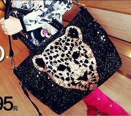 Wholesale Wholesale Trading Handbags - Wholesale- New fashion big leopard head sequined shoulder bag casual fashion handbags wholesale trade