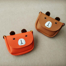 cute sweet cartoons Coupons - Everweekend Girls Ins Pu Leather Mini Purse Cute Bear Cartoon Bags Candy Color Sweet Kids Western Fashion Children Bag