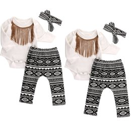 Wholesale Top Baby Headband White - 0-18months 3pcs Baby Girl Clothes Set Baby headband Tops+tassel bodysuit +pants Summer Outfits Set Sunsuit Costume