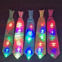 Wholesale Wholesale Female Weave - Female Male Sequins LED Neck Tie Glow Bow Tie Blinking Ties Birthday Party Supplies Wedding Favors Dancing Stage