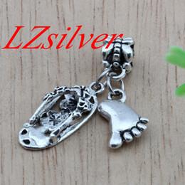 Wholesale Jewelry Bracelet Flip Flop - Hot ! 120pcs Ancient silver Alloy Flip flop & feet Charm Dangle for European Bead Bracelet DIY Jewelry