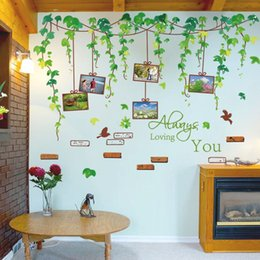 Wholesale Photo Frames For Walls - Living Room Sofa Backdrop Bedroom Picture Frame Wall Sticker Green Leaves Decorative Stickers Flower Vine Photo Frame Stickers