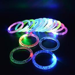 Wholesale Wholesale Toys For Festivals - Colorful LED Flash Glow Bracelets Acrylic Light-up Rave Wristbands light up bracelet for rave party bar festival christmas new year