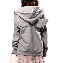 Wholesale Wings Casual Hoodie - Wholesale- 2017 New Autumn Tracksuit Women Hit 3D Angle Wings Hoodies Hooded Causal Full sleeve Fleece Cadigan Plus size M-3XL Black Gray