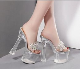 Wholesale Princess Diamond Platform Shoes - Sexy Korean princess diamond nightclub shoes rough with open toe waterproof platform high heels slippers stage performance sandals 1935