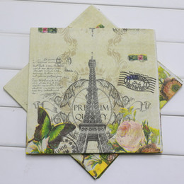 Wholesale Printing Paper Napkins - Wholesale- Butterfly Eiffel Tower Printed Paper Napkin Birthday Party Baby Shower Wedding Decoration Supplies Serviette Tissue Decoupage
