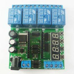 Relè 24v dc online-DC 5V 12V 24V 4 Ch Pro mini PLC scheda relè Modulo Shield per Arduino Delay Timer Interruttore