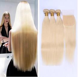 Extensions de cheveux blonds russes Cheveux vierges européens armure droite platine Armure de trame blonde européenne avec fermeture Pas de hangar ? partir de fabricateur