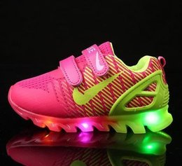 Wholesale Led Running Shoes - Children shoes and light spring network breathable boy fashion shoes Chaussure Led Enfant sports run