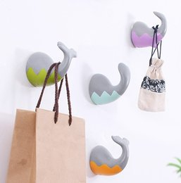 Wholesale Whale Tools - cute sea animal wall hooks whale shark animal tail hook towl holder kitchen wall hanger for home storage decoration wall hangers h50