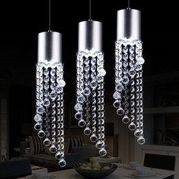 Wholesale Crystal Lamp Dining Table - Led three head dining room lamp lamp crystal chandelier creative personality simple European style dining table single Chandelier