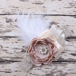Wholesale Baby White Flower Headband Bow - Wholesale- Newborn Feathers Headband Baby Girl Headband Flower Hair Bow Toddler Kids Hair Accessories Photography Prop