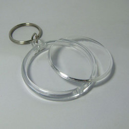 Wholesale Blank Acrylic Round Circle Keychains - Blank Acrylic Round Circle Keychains Insert Photo Keyrings 1.8'' 4.6cm 200X LOT Free Shipping
