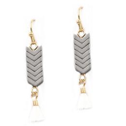 Wholesale Drop Stone Earring - Arrow Natural Stone Drop Tassel Earrings Vintage Zinc Alloy Fashion Dangle Earrings Jewelry Women