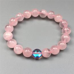 Bracciale con perle di quarzo rosa da 10 mm, braccialetto a quarzo aura mistica, bracciale elastico, bracciale con pietre preziose, bracciale con perline da