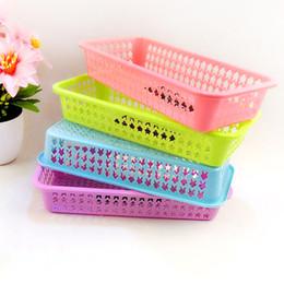 Wholesale Kitchen Fruit Vegetable Storage - 27*13cm Plastic Fruit Baskets 4 Colors Rectangle Vegetable Draining Basket Home Kitchen Storage Supplies Shallow Crate