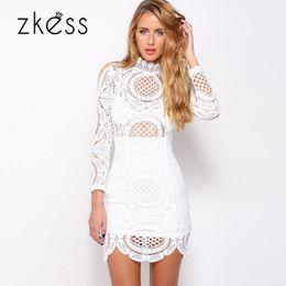 Wholesale Clubwear Party Mini Dress Lace - Vestido de Renda Lacing Long Sleeve Winter Short dress to Party Clubwear White Crochet Lace High Neck Mini Dress LC22179 17414