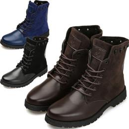 Wholesale Velvet Flocking Black - Men's fashion Plus velvet warmth casual Leather boots men shoes business men's ankle boots Fashion boots martin boots Black Blue Brown