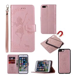 Wholesale Wholesale Cell Phone Wallets - For iphone 7 7 Plus 6 6s 6 plus 6s Plus 5s SE Dancing Girl Flower Fairy 2 in 1 Wallet Leather Cell Phone Case With Magnetic Detachable Cover